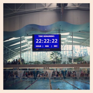 Timing Clock counting down 24 hours at the 2012 MS Megaswim