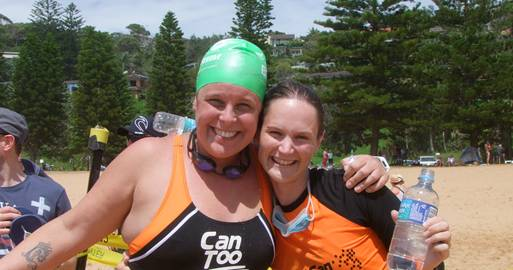 With my team-mate Sally at the finish line! Exhausted but grinning! And looking particularly styling in my orange swimmers and green cap! Hint – ocean swimming is not the sport for you if you want to look glamorous!