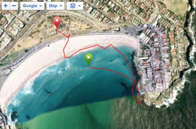 Ignore the bit where I forget to stop the GPS until I'm in the Bondi Surf Club change rooms!